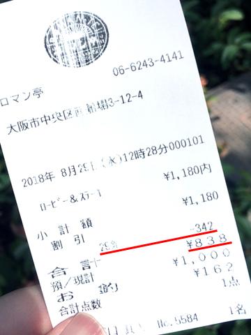 838円のレシート