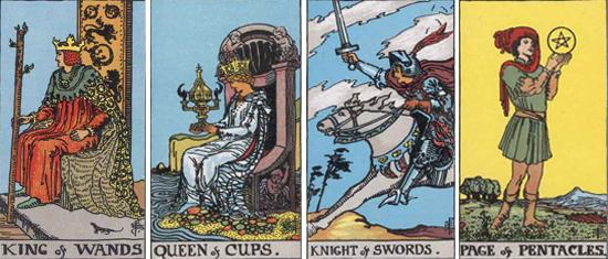 コートカード キング(王) / クィーン(女王) / ナイト(騎士) / ペイジ(王子または従者)